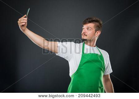 Portrait Supermarket Employer Taking Selfie With Smartphone