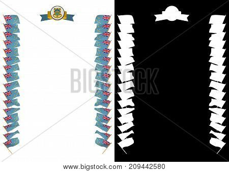 Frame And Border With Flag And Coat Of Arms Tuvalu. 3D Illustration