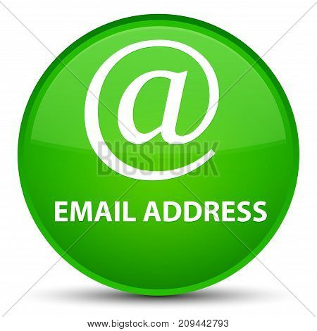 Email address isolated on special green round button abstract illustration poster