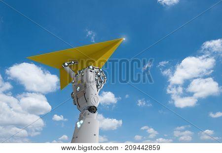 Robotic Hand Holding Paper Plane