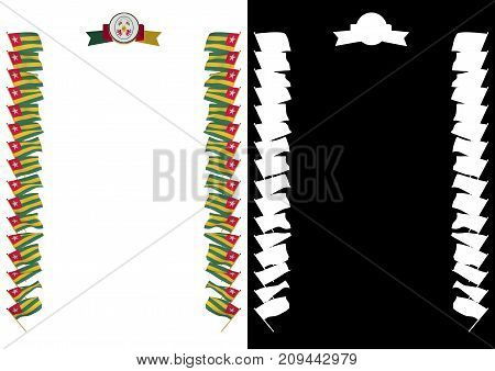 Frame And Border With Flag And Coat Of Arms Togo. 3D Illustration