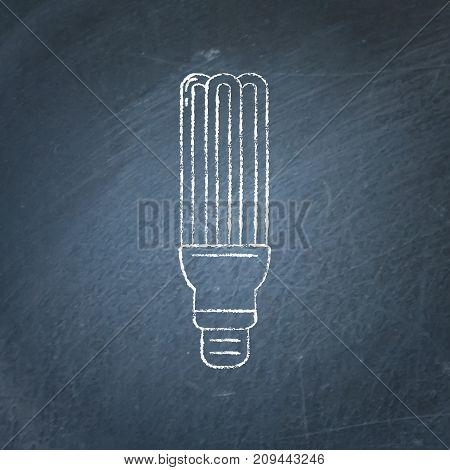 Energy saving fluorescent light bulb icon sketch on chalkboard. Economical lamp symbol in line style - chalk drawing on blackboard.