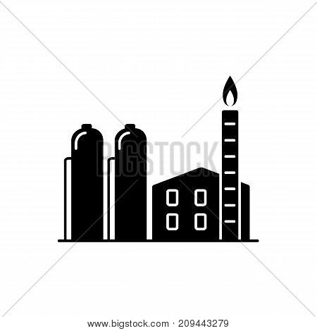 Natural gas plant silhouette icon in flat style. Non-renewable energy industrial concept. Fossil fuel energy symbol isolated on white background.