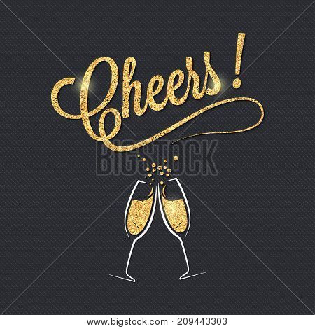 Champagne glass banner. Cheers party celebration design background. 10 eps