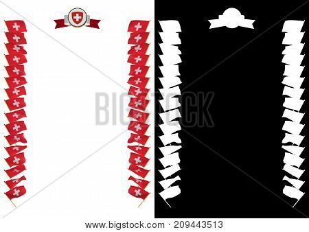 Frame And Border With Flag And Coat Of Arms Switzerland. 3D Illustration