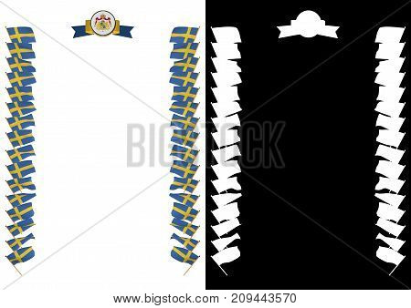 Frame And Border With Flag And Coat Of Arms Sweden. 3D Illustration