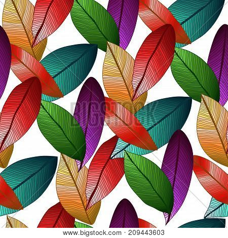 Vector seamless pattern with coloed degrade leaves on white background. Foliage.