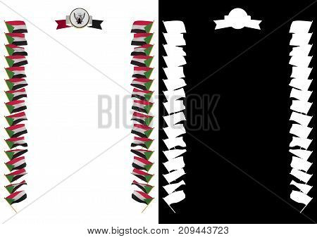 Frame And Border With Flag And Coat Of Arms Sudan. 3D Illustration