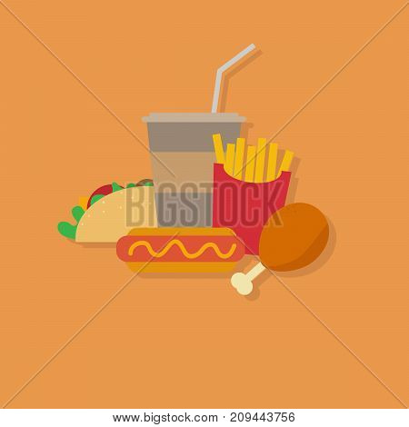 vector illustration of fast food. junk  food