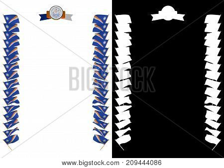Frame And Border With Flag And Coat Of Arms Marshall Islands. 3D Illustration
