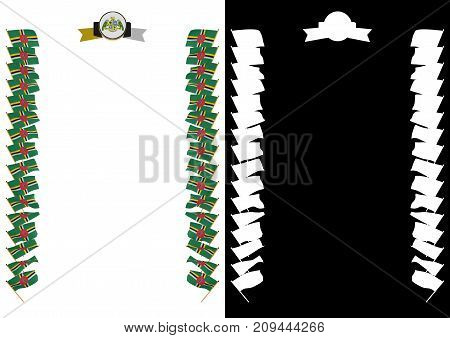 Frame And Border With Flag And Coat Of Arms Dominica. 3D Illustration