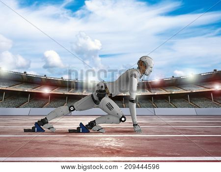 3d rendering humanoid robot running in stadium