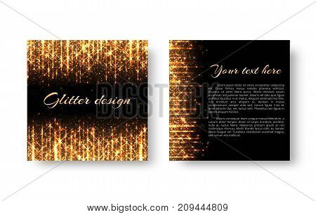 Greeting card with golden shine and bright yellow rays for New Year's decoration of congratulations.