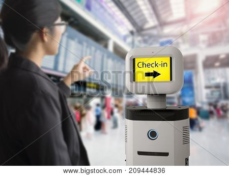 3d rendering assistant robot with digital screen in airport