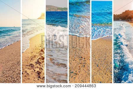 Collage sea beach picture background close up