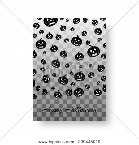Invitation card design with falling black silhouettes of smiling pumpkins for festive decoration for halloween