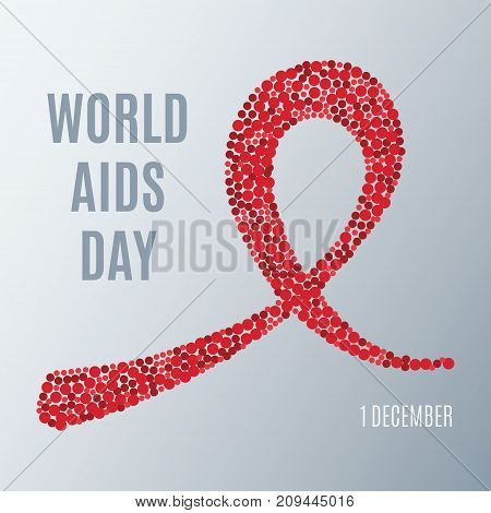 World AIDS day awareness poster. Symbol of acquired immune deficiency syndrome. Red ribbon made of dots on grey background. Medical concept. Circle design template. Vector illustration.