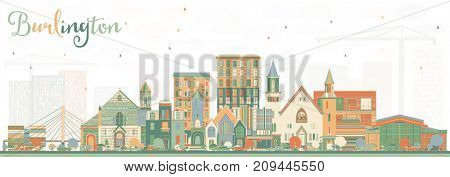 Burlington Iowa Skyline with Color Buildings. Business Travel and Tourism Illustration with Historic Architecture.