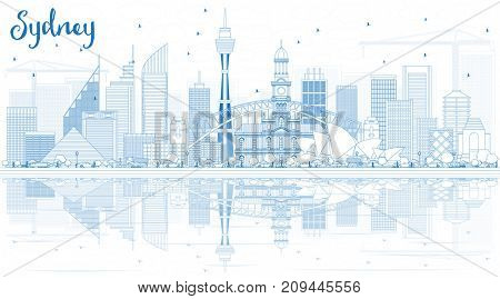 Outline Sydney Australia Skyline with Blue Buildings and Reflections. Business Travel and Tourism Concept with Modern Architecture. Image for Presentation Banner Placard and Web Site.