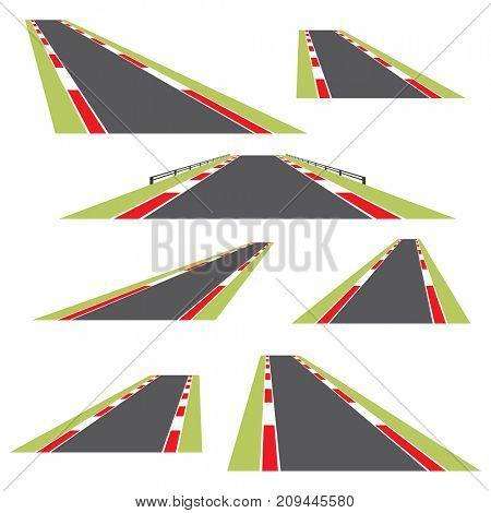 Set of roads isolated on white background.