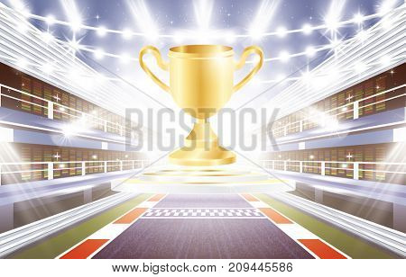 Race Track Arena with Spotlights, Finish Line and Golden Cup.