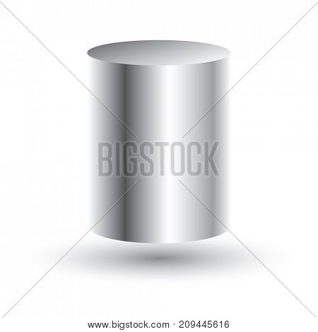 White Cylinder Isolated on White Background.