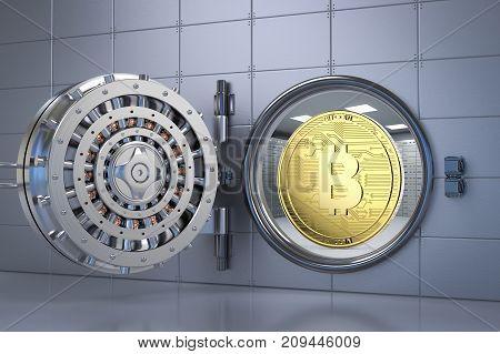 3d rendering gold bitcoin in bank vault