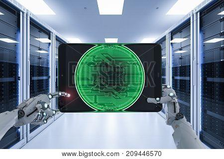 3d rendering robot working with bitcoin in server room