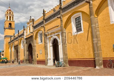 March 31 2014 Cholula Mexico: San Gabriel church and monastery was established in 1529 by the Franciscans on top of the destroyed temple to Quetzalcoatl with evangelization as its initial purpose