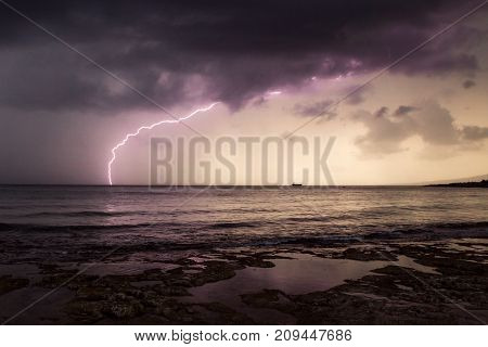 Landscape:Storm and Lightning above the sea. Cyprus.