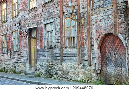 Old wood building in center of TallinnEstonia. Architecture detail for background or texture.