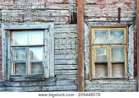 Old windows of antic building in center of TallinnEstonia. Architecture detail for background or texture.