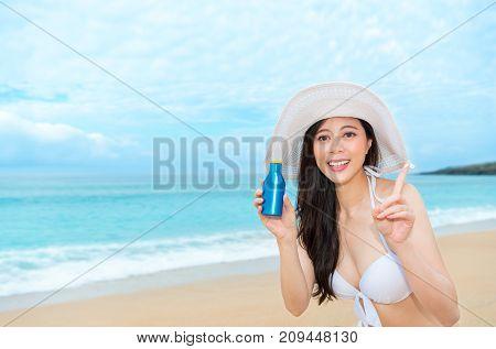 Elegant Female Girl Using Uv Cream Care Body Skin