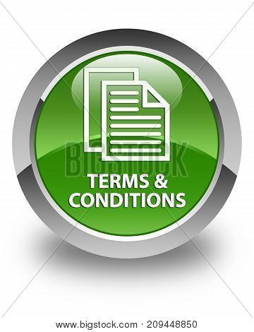 Terms And Conditions (pages Icon) Glossy Soft Green Round Button