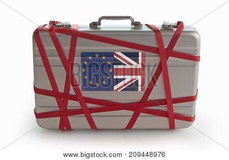Red tape around a briefcase with european and british flag