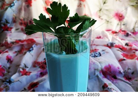 beautiful vegetable cocktail with the addition of green parsley