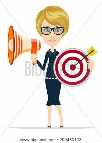 Business woman holding target and megaphone.Stock vector illustration for poster, greeting card, website, ad, business presentation, adve