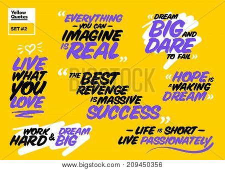 Vector Collection of Famous Inspirational Quotes. Motivational Short Phrases. Brush Lettering. Set of Lifestyle Quote Labels. Philosophical Message. Inspirational Sayings to Inspire Success.