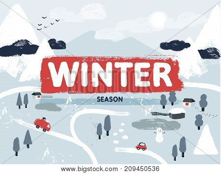 Flat vector winter snowy lanscape scene. Small village or town with cars, houses and roads in the mountains. Map view hand-drawn illustration.