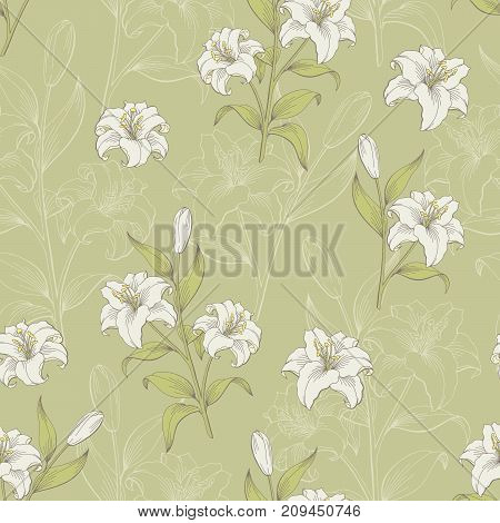 Lily flower graphic color seamless pattern sketch illustration vector