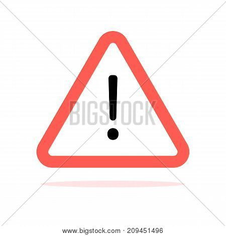 Conventional triangular warning sign with rounded corners