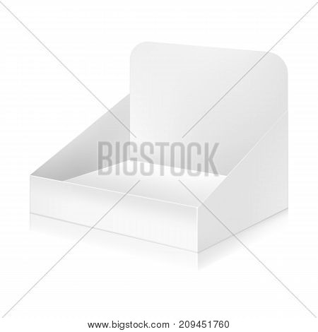Paper white display box mock-up template. Good for packaging design. Vector illustration.