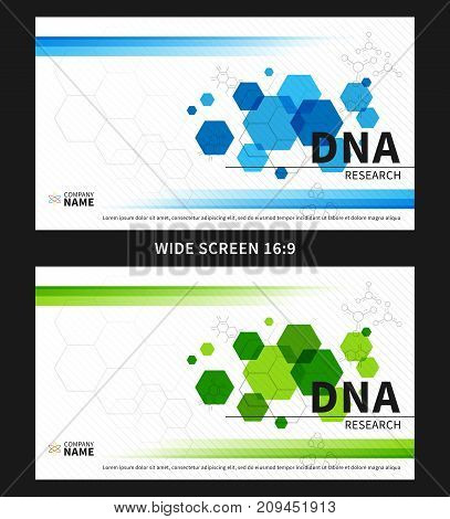DNA research cover vector illustration. Presentation cover template for medical report graphic design. Annual report layout creative concept.