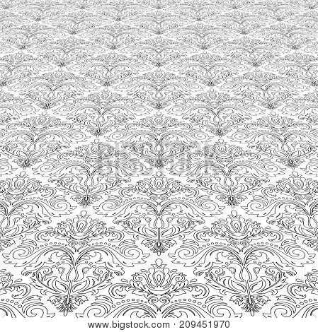 Elegant black and white ornament in classic style. Abstract traditional pattern with oriental elements, Classic vintage pattern
