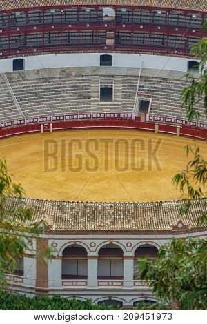 Closeup vertical composition view of bullfight arena detail