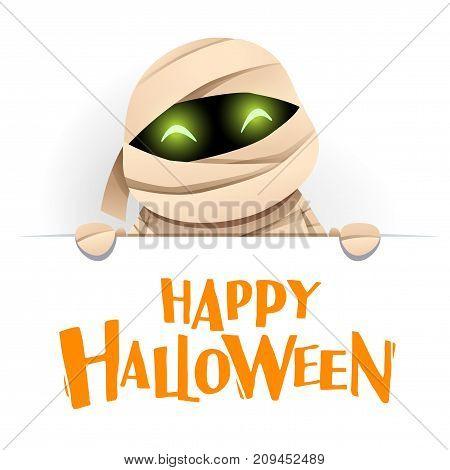 Happy Halloween. Mummy with big signboard. White background.