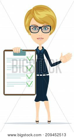 Woman with the clipboard questionnaire. Stock flat vector illustration.