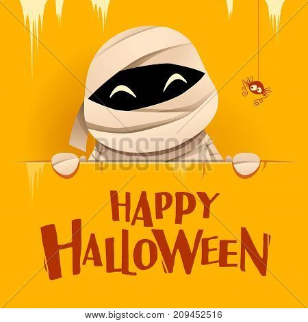 Happy Halloween. Mummy with big signboard. Retro vintage. Yellow background.