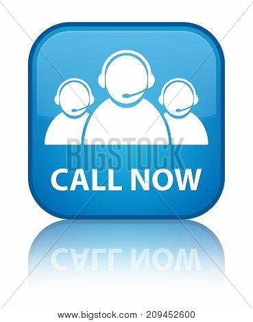 Call Now (customer Care Team Icon) Special Cyan Blue Square Button