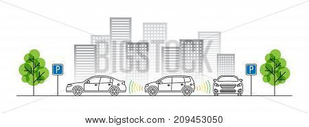 Car parking sensor vector illustration. Autonomous car technology with sensors line art concept. Smart parking assist system graphic design. Intelligent sensors scan free space.